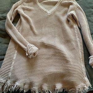 Blush v neck fringe sweater